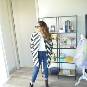 Zara chevron stripped S coat